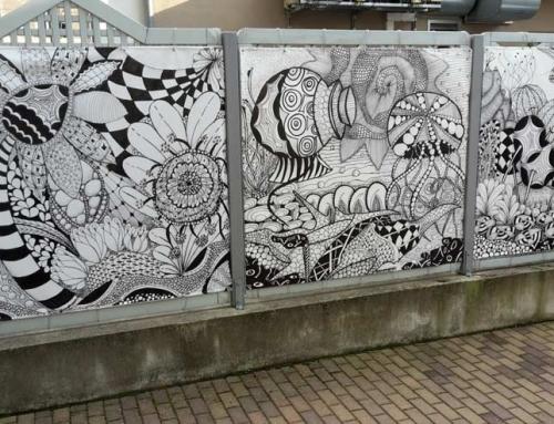 "Outdoor Kunstprojekt ""Landscapes"" in der Hessenbachstraße, Augsburg"